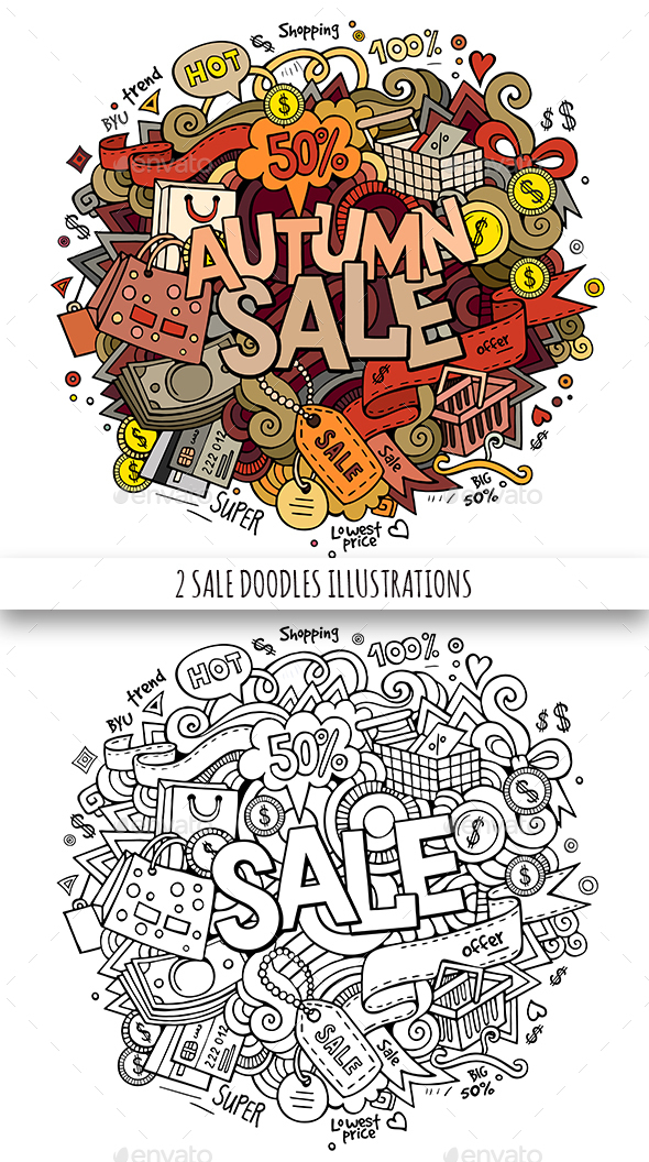 2 Sale Doodles Designs - Retail Commercial / Shopping