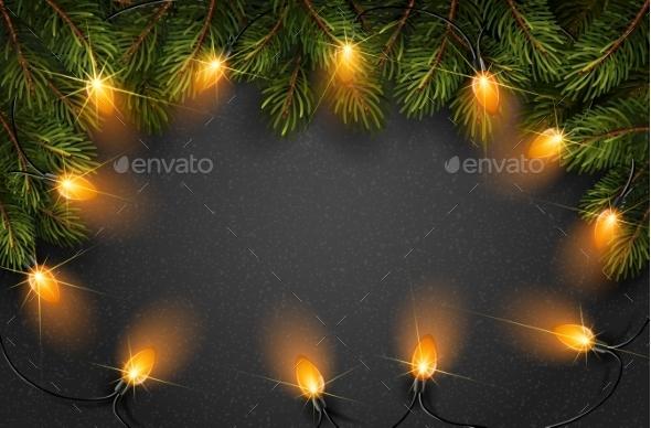 Christmas Light with Fir Branches - Christmas Seasons/Holidays