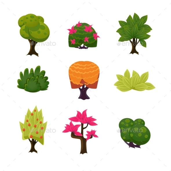 Cartoon Trees - Seasons Nature