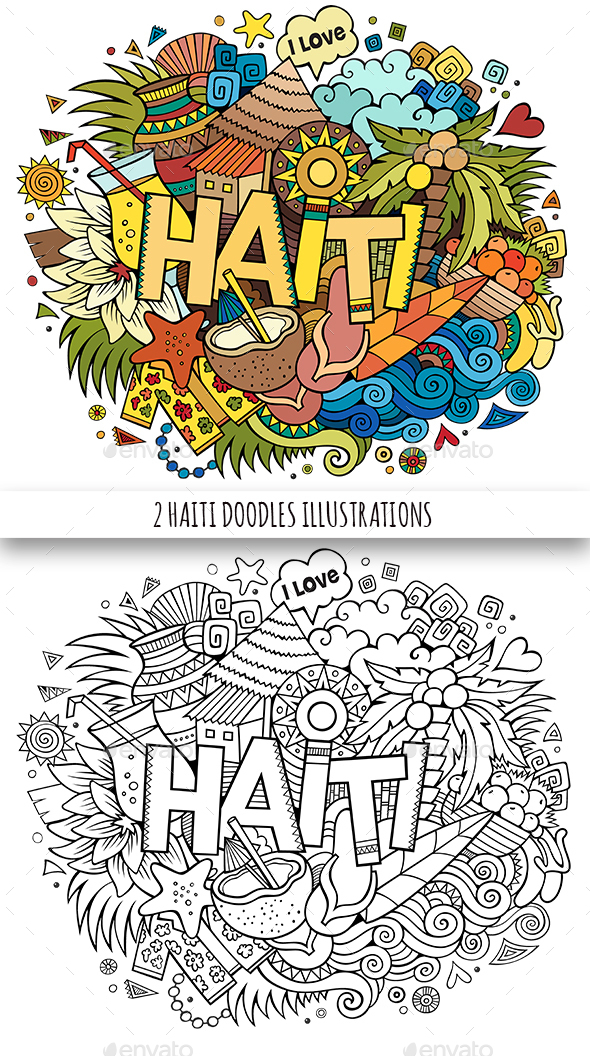 2 Haiti Doodles Illustrations - Travel Conceptual