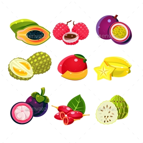 Colourful Exotic Tropical Fruits Set - Food Objects