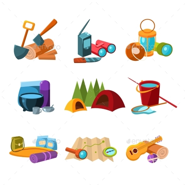 Hiking and Camping Icons Set - Travel Conceptual