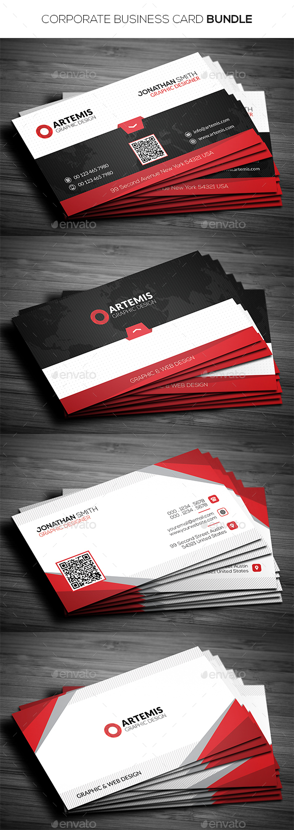 2 in 1 Corporate Business Card Bundle  - Corporate Business Cards