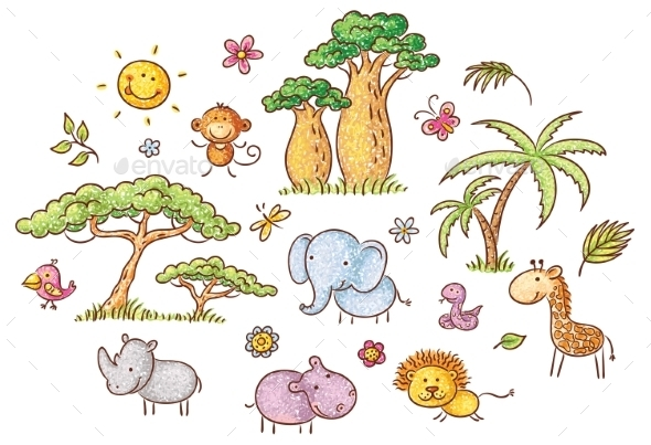 Set of Cartoon Exotic African Animals and Plants - Animals Characters