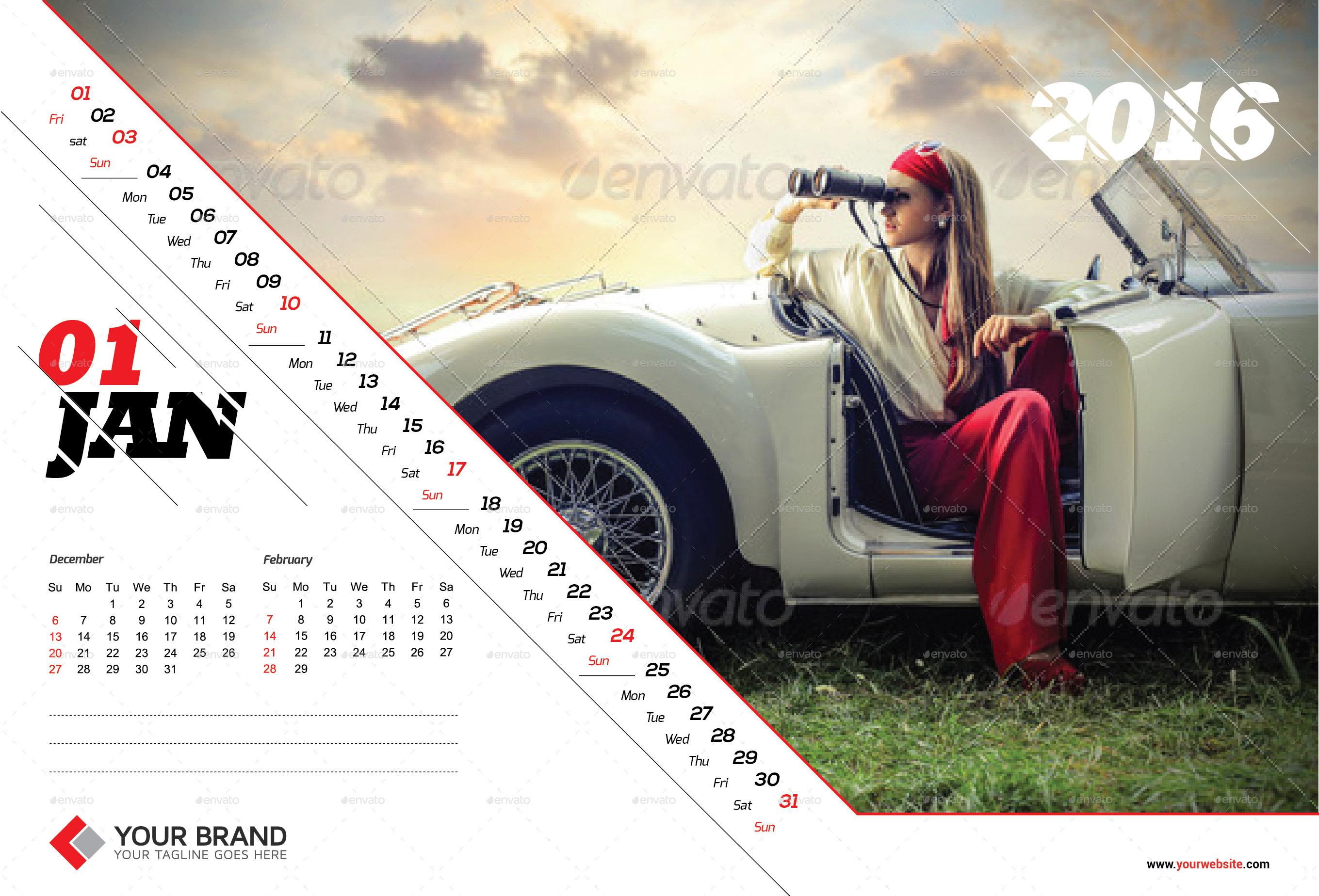 Wall Calendar Design 2016 by olaylay GraphicRiver