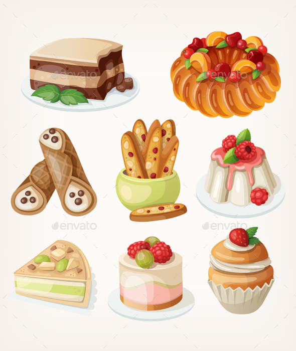 Set of Traditional Italian Desserts - Food Objects