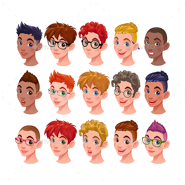 Set of Boys with Different Hairstyles and Accessor - People Characters