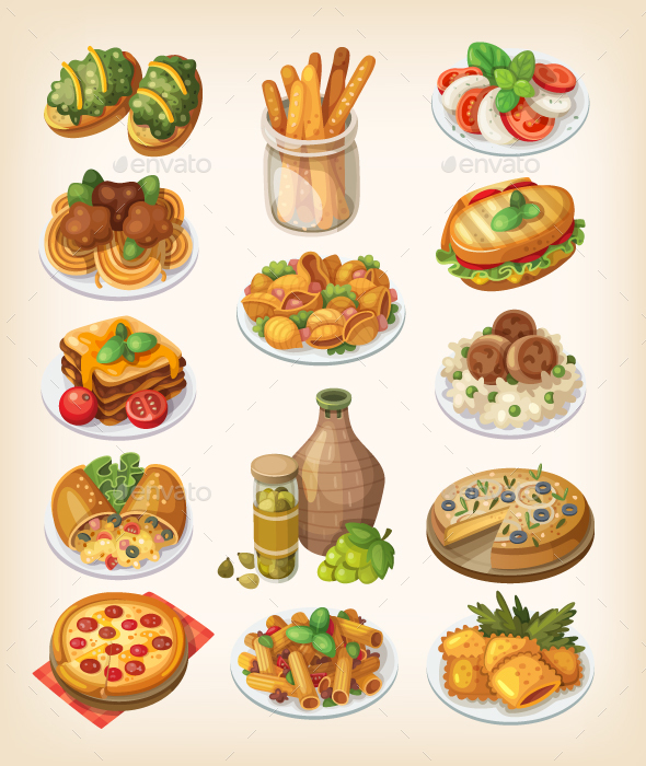 Italian Food and Meals - Food Objects