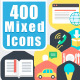400 Icons with Unlimited Colors - GraphicRiver Item for Sale