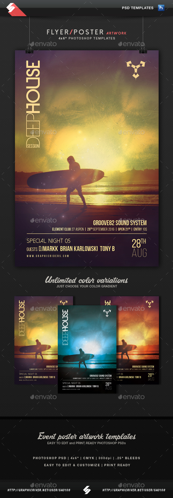 Deep House Session 5 - Party Flyer Template - Clubs & Parties Events