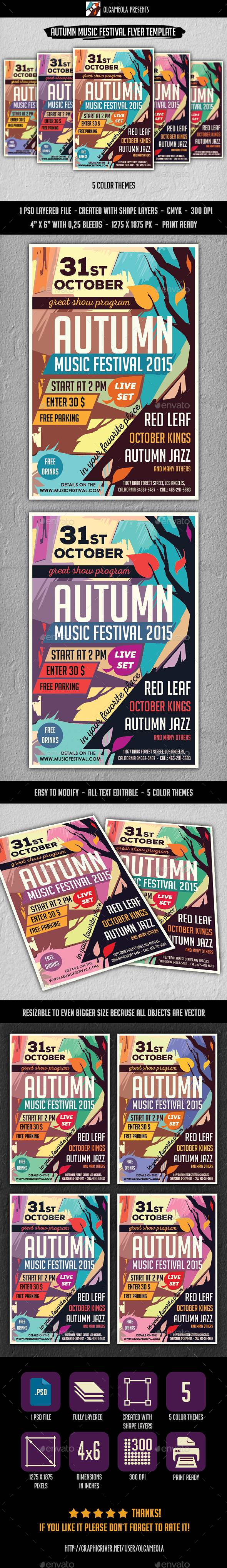 Autumn Music Festival Flyer Template - Concerts Events