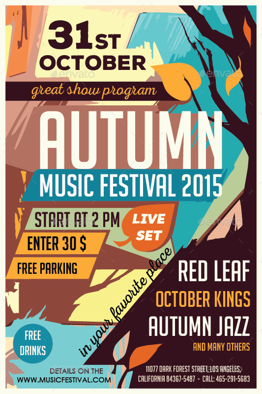 autumn music festival flyer template by olgameola