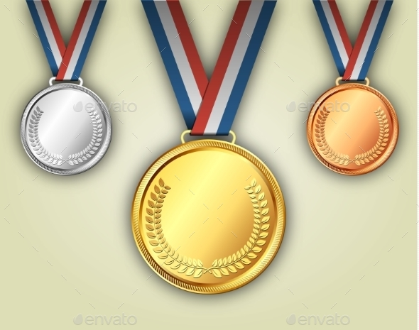 Gold Silver and Bronze Medals on Ribbons - Sports/Activity Conceptual