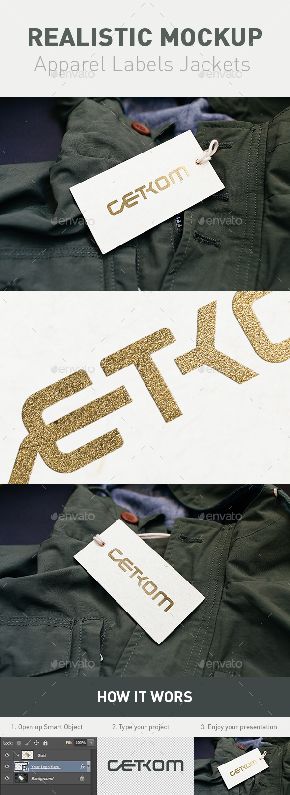 Realistic Clothing Labels Jackets (Gold Style) - Logo Product Mock-Ups