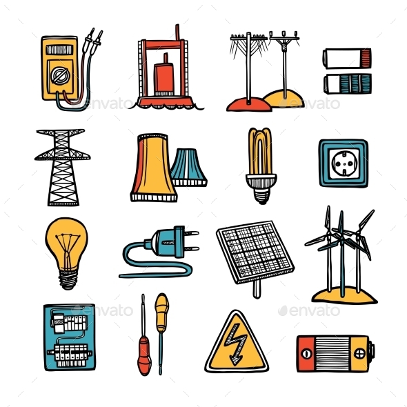 Power And Energy Icon Set  - Technology Icons