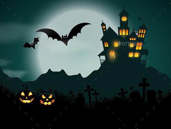 Halloween Haunted House Background - Halloween Seasons/Holidays