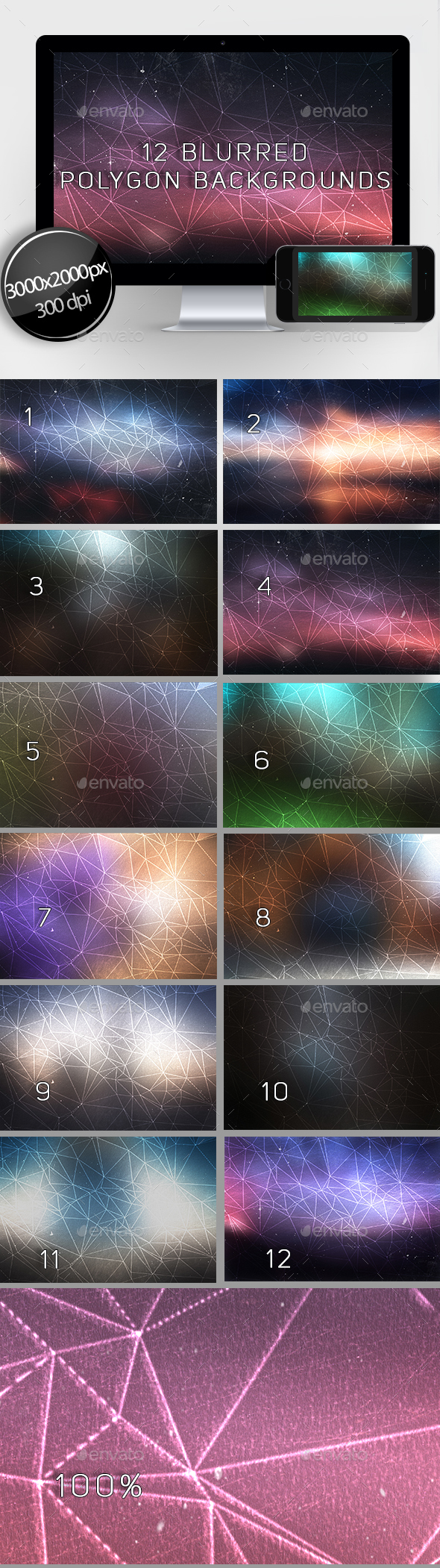 12 Blurred Polygon Backgrounds - Abstract Backgrounds