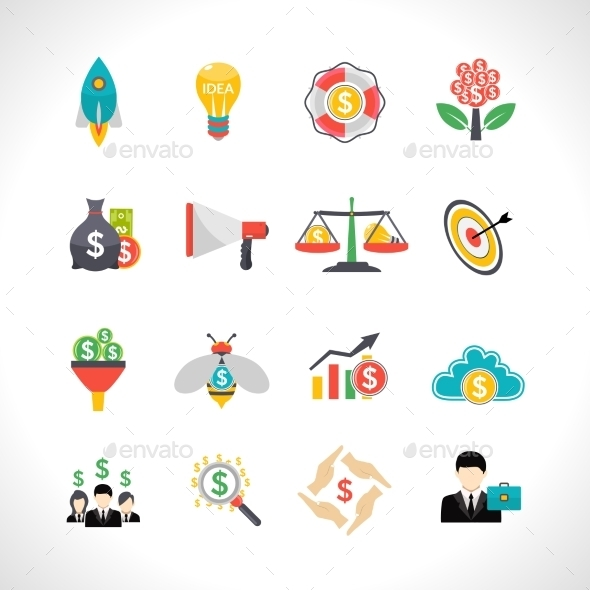 Startup Crowdfunding Flat Icons Set - Business Icons