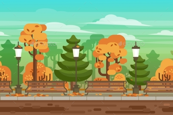 Game Seamless Autumn Landscape Park Background - Backgrounds Decorative