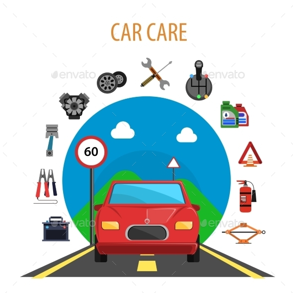 Car Service Concept - Miscellaneous Vectors