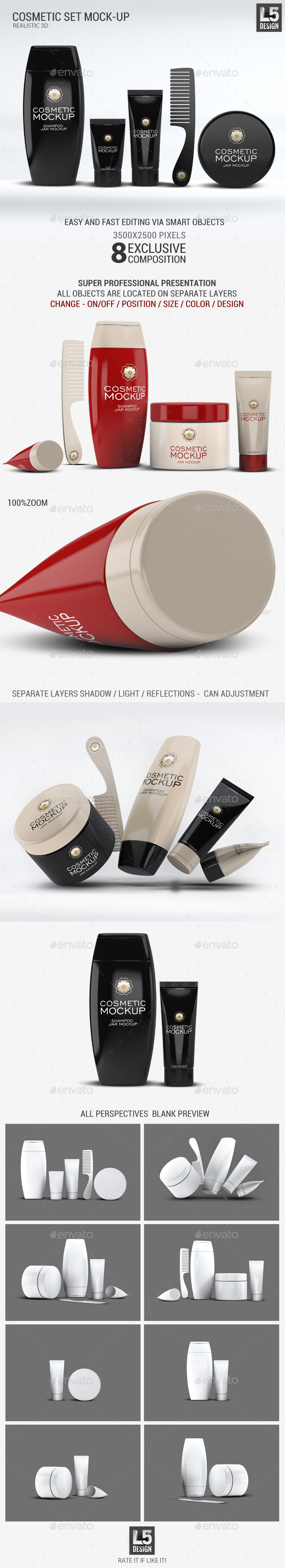 Cosmetic Set Mock-Up - Beauty Packaging