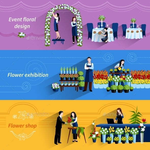 Florist Shop Service Flat Banners Set - Services Commercial / Shopping
