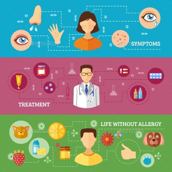 Allergy Symptoms Medical Treatment Banners