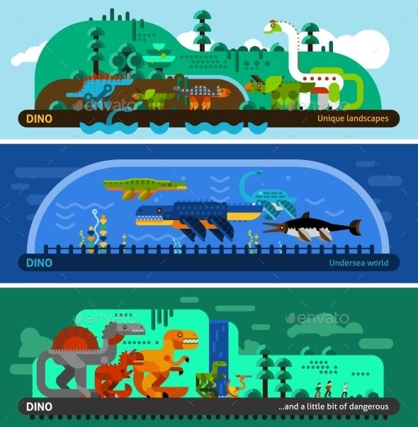 Dinosaur Banner Set - Animals Characters