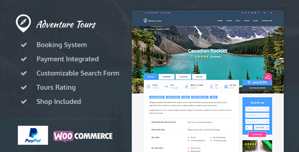 Adventure Tours WordPress Tour Travel Theme