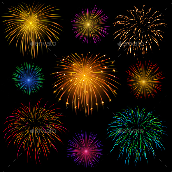 Set of Fireworks - Decorative Symbols Decorative