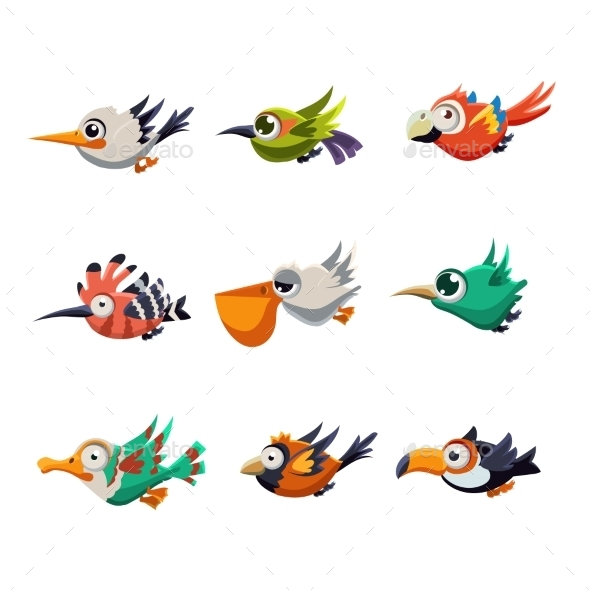 Colourful Flying Birds - Miscellaneous Vectors