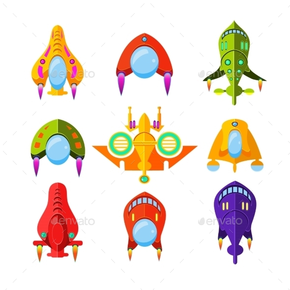 Colourful Spaceships and Rockets - Miscellaneous Vectors