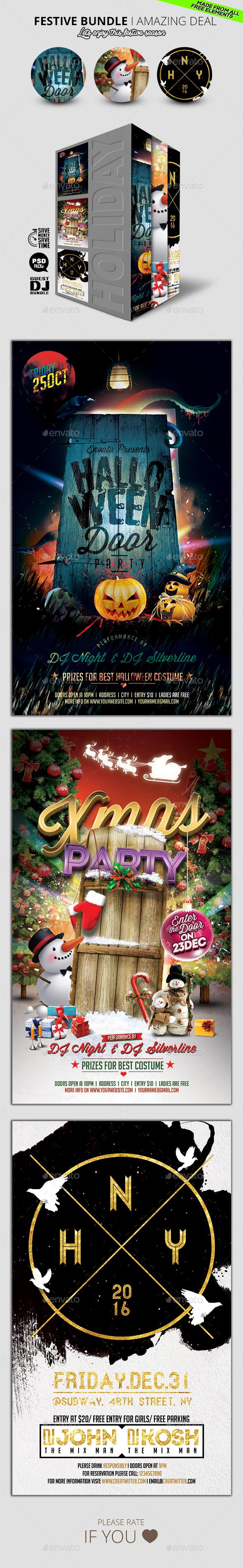 Festive Flyer Bundle V2 - Holidays Events
