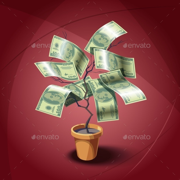 House Plant with Dollars Leaves - Miscellaneous Vectors