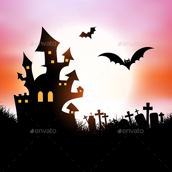 Halloween Haunted House Background