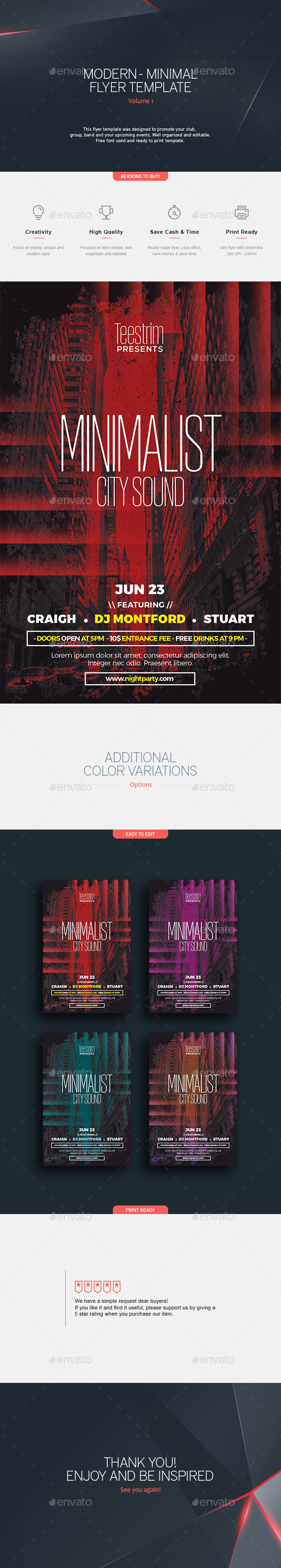 Minimal City Sound - Flyer Template - Clubs & Parties Events