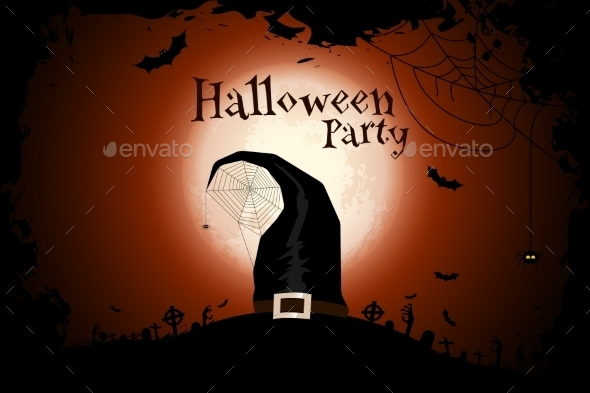 Halloween Zombie Party Poster with Hat - Halloween Seasons/Holidays