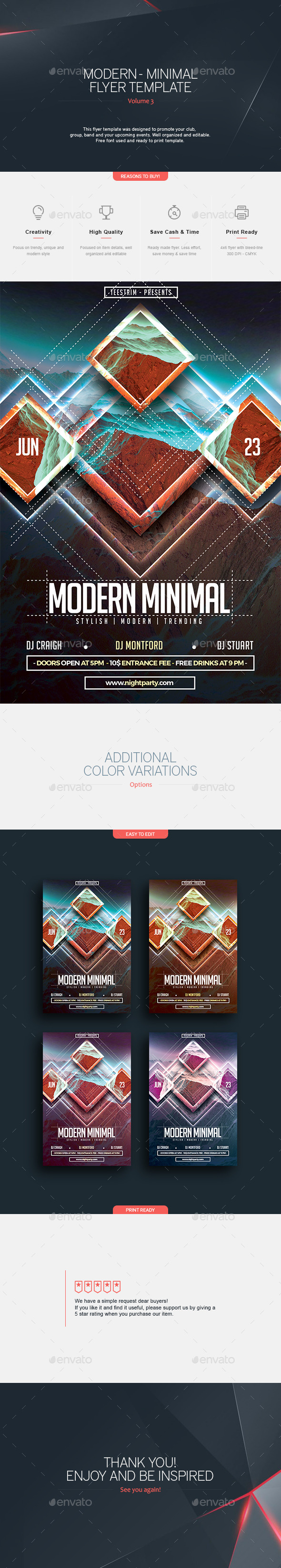 Modern Minimal - Flyer Template - Clubs & Parties Events