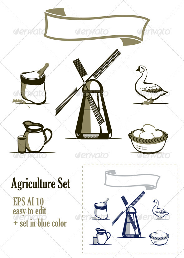 Agriculture Design Elements Set - Industries Business