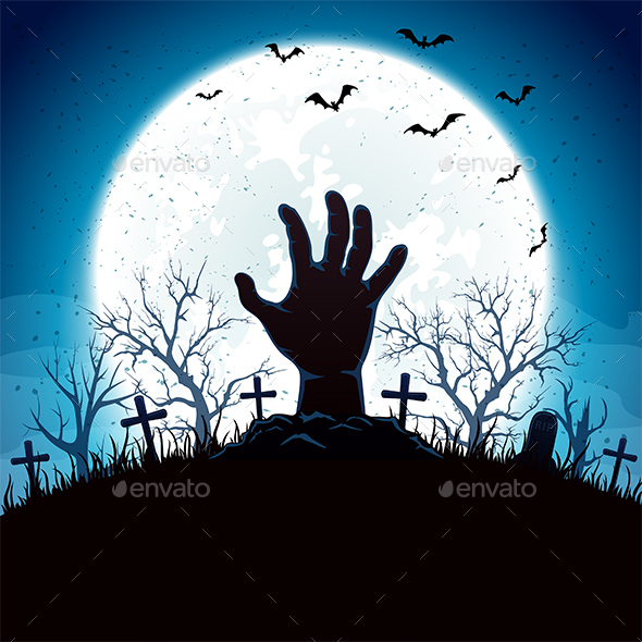 Blue Halloween Background with Hand and Moon by losw | GraphicRiver