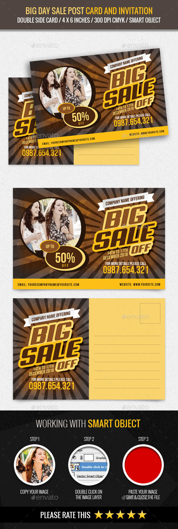 Big Day Sale Post Card Template