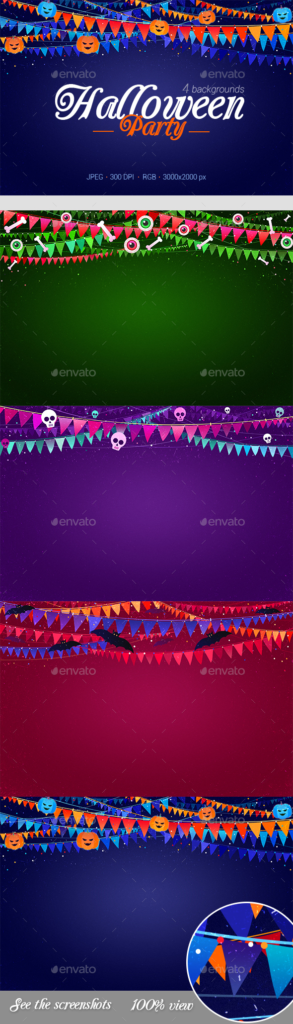 4 Halloween Party Backgrounds