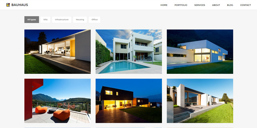 Bauhaus architecture portfolio wordpress theme by for Architecture wordpress