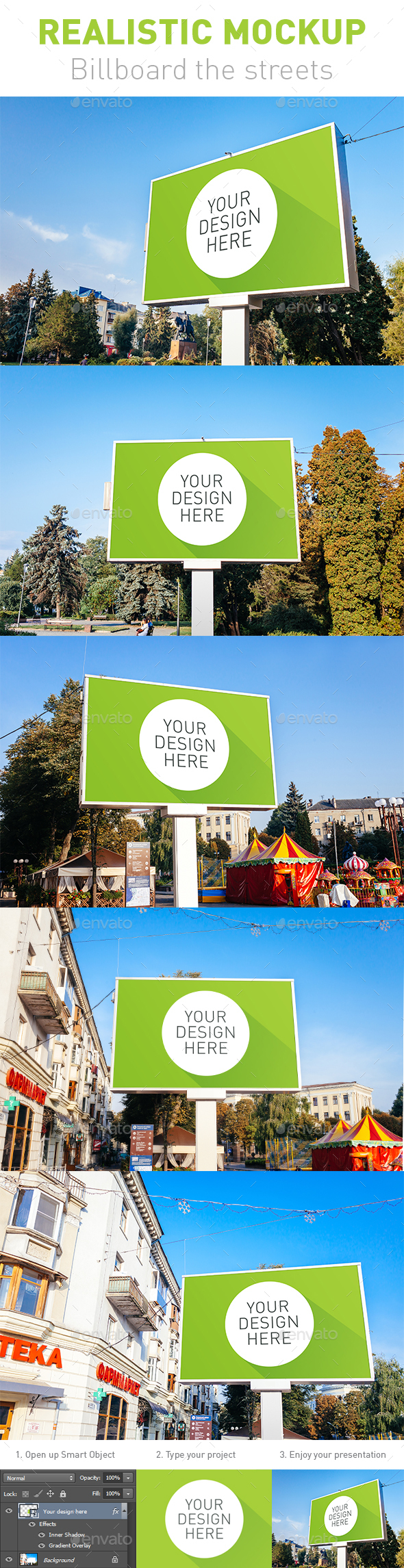 5 Realistic Mockup Billboard the Streets
