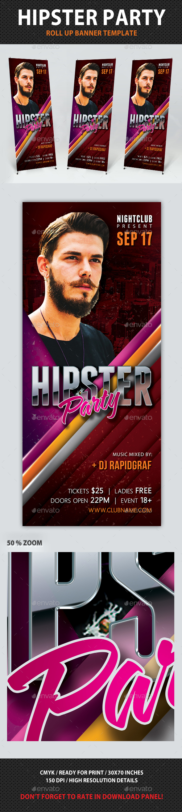 Hipster Party Roll-Up Banner - Signage Print Templates