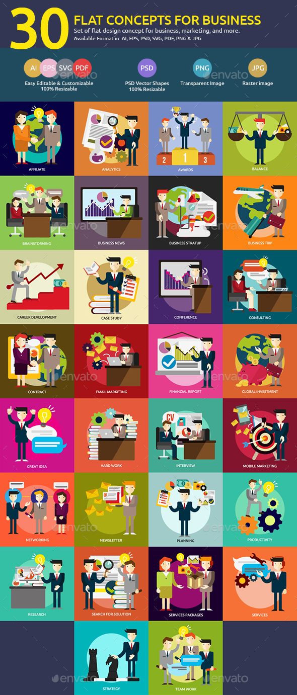 Flat Concepts for Business People - Business Conceptual