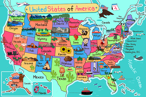 USA Map in Cartoon Style - Decorative Vectors