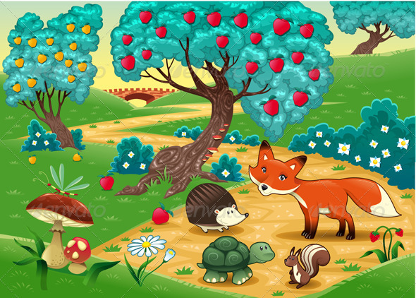 Animals in the wood. Funny cartoon and vector illu - Animals Characters