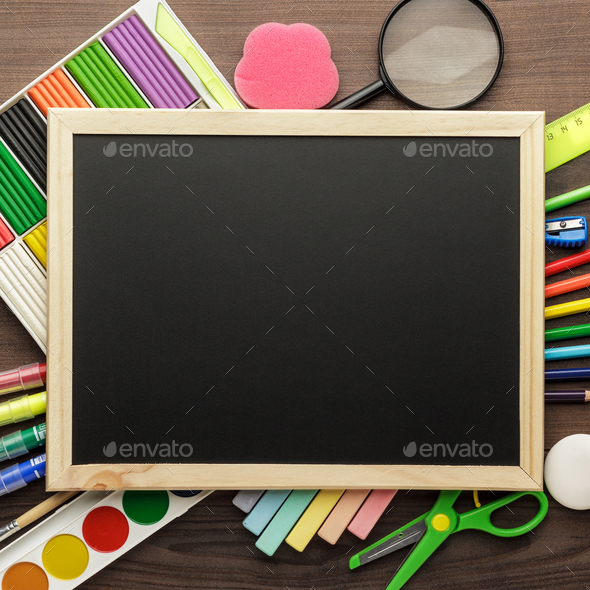 School Supplies And Blackboard - Stock Photo - Images