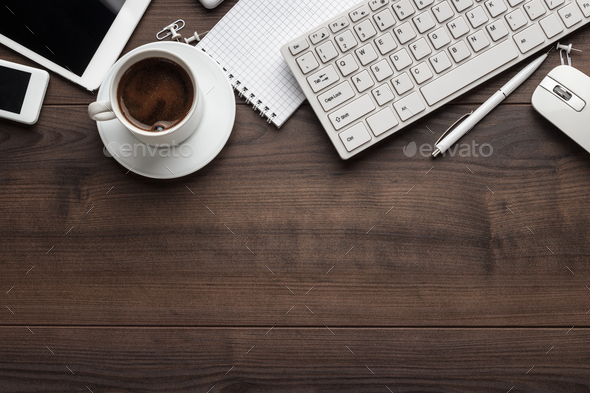 Overhead Of Office Table With Copy Space - Stock Photo - Images